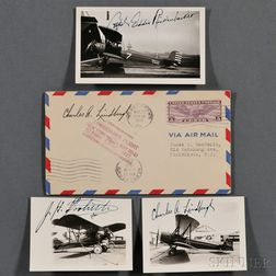 Lindbergh, Charles A. (1902-1974), Jimmy Doolittle (1886-1993), and Edward Vernon Rickenbacker (1890-1973) Signed Photos of their Airpl
