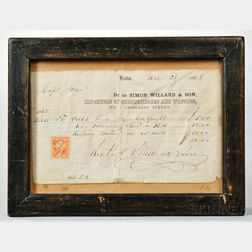 Simon Willard & Son Chronometer Timing Receipt