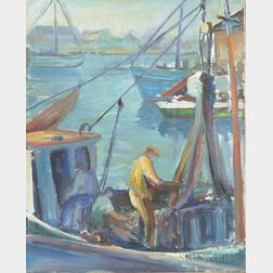 Muriel Ritchie (Massachusetts, 1904-1970)       Rockport Harbor Scene.