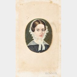 American School, 19th Century      Portrait Miniature of a Woman