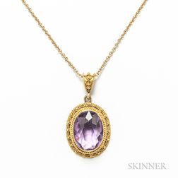 14kt Gold and Amethyst Pendant and Chain