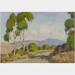Attributed to William Jurian Kaula (American, 1871-1953)  Spring Landscape with Distant Mountains