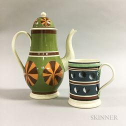 Two Don Carpentier Slip-decorated Ceramic Vessels