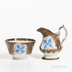 "Two Brown Spatterware ""Open Tulip"" Pattern Teaware Pieces"