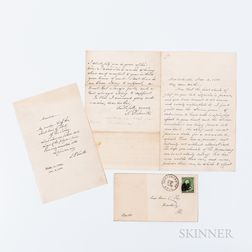 Smith, Samuel F. (1808-1895) Autograph Letter Signed and Autograph Stanza of America Signed, Newton Center, Massachusetts, 12 November