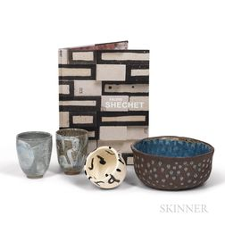 Group of Modern Studio Ceramics and a Book