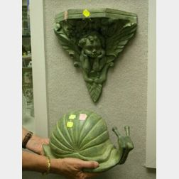 Patinated Bronze Snail and Fiorucci-style Angel Bracket Wall Shelf.
