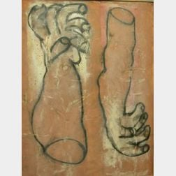 Large Framed Modern Oil of Two Hands