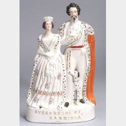 Victorian Staffordshire Figure of Victoria and Victor Emmanuel II