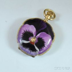 18kt Gold and Purple Enamel Pansy Hunting Case Pocket Watch