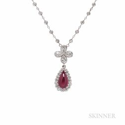 Platinum, Ruby, and Diamond Necklace