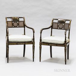 Pair of Regency-style Black-painted Armchairs