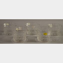 Five Colorless Cut Glass Wine Tasters