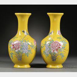 Pair of Yellow-glazed Vases