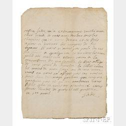 Marquis de Sade (1740-1814) Autograph Letter Signed, 1 April [no year].