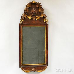 """Chippendale Carved Mahogany Veneer """"Cape Cod"""" Mirror"""