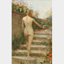 Julius LeBlanc Stewart (American, 1855-1919)      Nude on Garden Stair