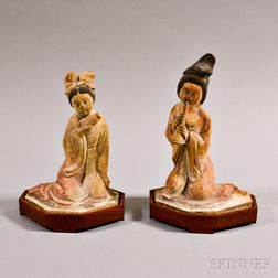 Two Painted Terra-cotta Female Musicians