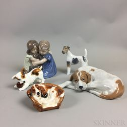 Three Royal Copenhagen and Two Royal Doulton Ceramic Figures of Dogs