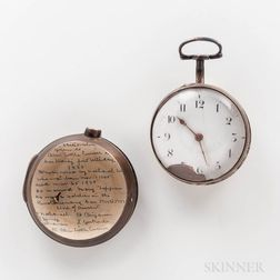 Jabez Baldwin No. 2402 Sterling Silver Pair-cased Watch and Box