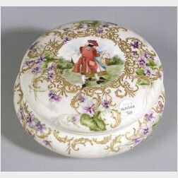 "Hand Painted Porcelain ""Art School"" Covered Jar"