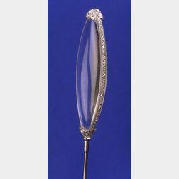 Art Deco Platinum, Diamond, and Rock Crystal Hat Pin