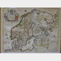 Framed Hand-colored Map of Scandinavia