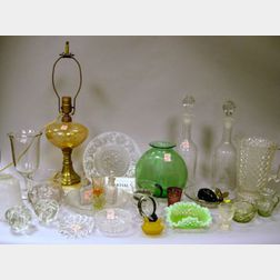 Large Lot of Assorted Colorless Pressed Pattern and Blown Glass Tableware and Table Items, Etc.
