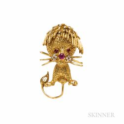 18kt Gold and Ruby Lion Brooch