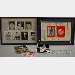 Framed Set of Seven 1961 New York Yankees Autographed Photographs, a Yogi Berra Autographed Photograph, Eddie Sawyer Autographed Photog