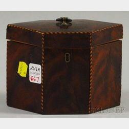 Inlaid Mahogany Veneer Hexagonal Tea Caddy
