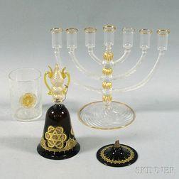 Three Pieces of Judaic Venetian Glass