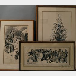 Denys Wortman (American, 1887-1958) Three Framed Christmas Drawings for Gifford Beal (American, 1879-1956): Hey, wait a minute! The Wor