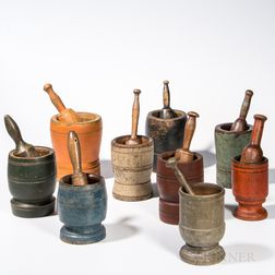Collection of Nine Turned and Painted Mortars and Pestles