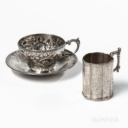 Two Pieces of Bailey & Co. Coin Silver Tableware