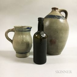 "Stoneware Gin Jug, Pitcher, and a Green Glass ""Middle Temple"" Bottle"