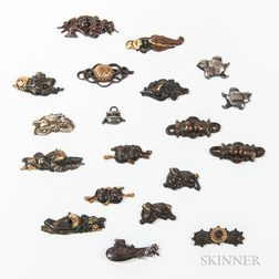 Nineteen Mostly Bronze Menuki   Sword Ornaments