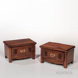 Pair of Diminutive Walnut Cabinets