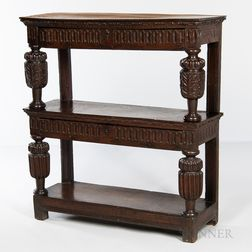 Carved Oak Three-tier Cupboard