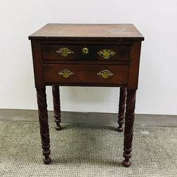 Late Federal Carved Cherry Two-drawer Worktable