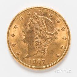 1907 $20 Liberty Head Gold Coin