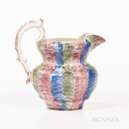 Red, Green, and Blue Rainbow Spatterware Pitcher