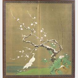 Japanese Two-Panel Floor Screen