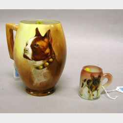 Miniature Hand-painted French Bulldog Decorated Opaline Glass Mug and a Hand-painted Boston Terrier Decorated Austrian Porcelain Stein