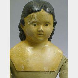 Large German Papier-Mache Shoulder Head Doll