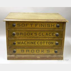 Brook's Painted Ash Four-Drawer Retail Counter Spool Cabinet