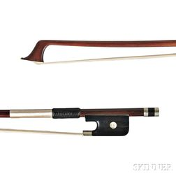 French Nickel-mounted Violoncello Bow, Nicolas Maline, c. 1845