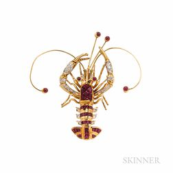 18kt Gold, Ruby, and Diamond Lobster Brooch