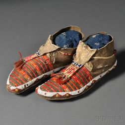 Pair of Lakota Beaded and Quilled Hide Moccasins