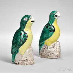 Pair of Export Ceramic Parrots